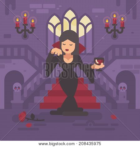 Vampire Lady In A Black Dress With A Glass Of Wine Or Blood Standing In The Moonlit Hall Of A Gothic