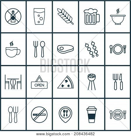 Cafe Icons Set. Collection Of Food Mapping, Silverware, Grill And Other Elements