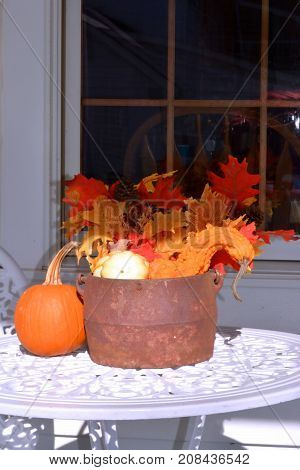 Rustic Country Farm House Patio Table Decorated with Fall Decorations