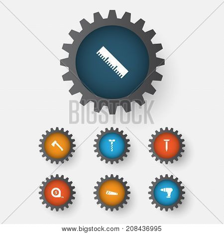 Repair Icons Set. Collection Of Screw, Meter, Tool And Other Elements