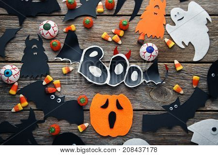 Halloween Candy Corns With Bats And Pumpkins Grey Wooden Table