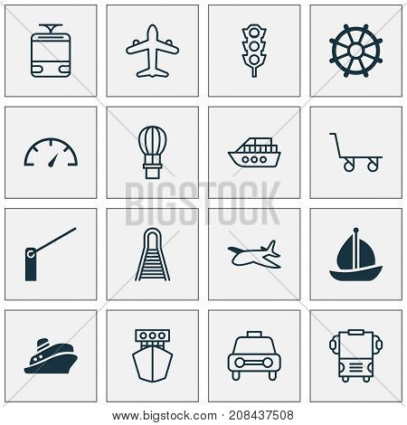 Vehicle Icons Set. Collection Of Transport, Travel Boat, Boat And Other Elements