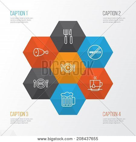 Restaurant Icons Set. Collection Of Hot Drink, Silverware, Stop Smoke And Other Elements