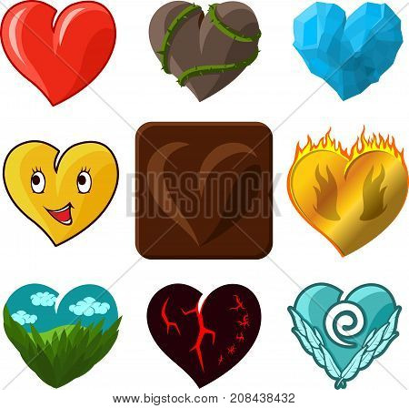 Vector hearts icons set on white background