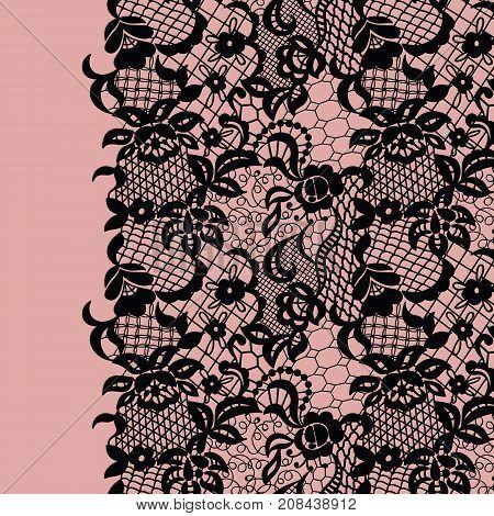 Seamless lace border. Vector illustration. Black lacy vintage elegant trim.