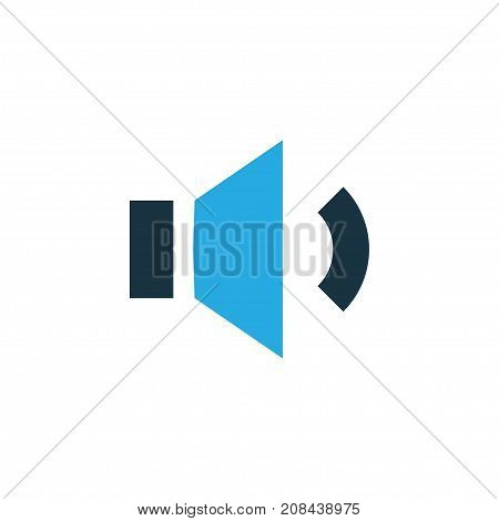 Premium Quality Isolated Volume Down Element In Trendy Style.  Megaphone Colorful Icon Symbol.