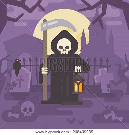 Grim Reaper With A Scythe And A Lantern On An Old Cemetery At Night. Trick Or Treat. Halloween Flat