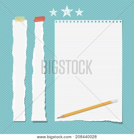 White ripped strips, copybook, notebook paper with pencil for note or text stuck with sticky tape and stars on turquoise background