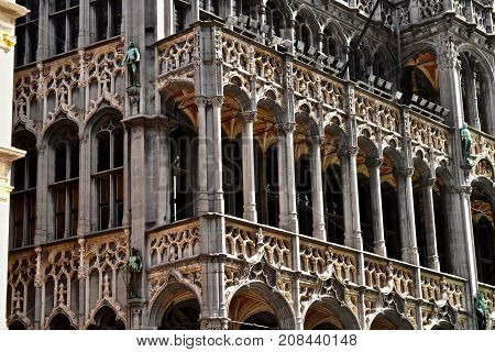 brussels,  grand place, close up, old building with many architectural enrichments