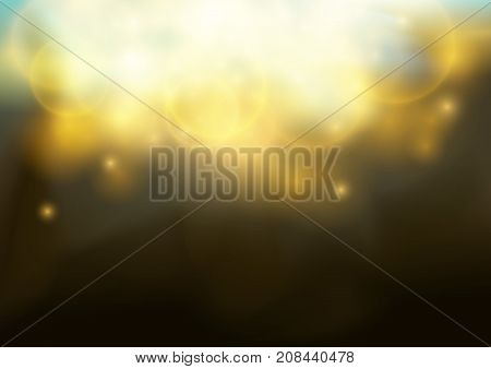 Magical Bokeh Shine Christmas light Elegant Glow fashion Background. Party Abstract Golden Shiny Fog and sparkle Dust. Festive Bright Beautiful Fireworks. Vector illustration