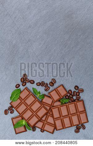 Chocolate Milk Chocolates Bar Food Portrait Format Sweets Slate Copyspace Top View