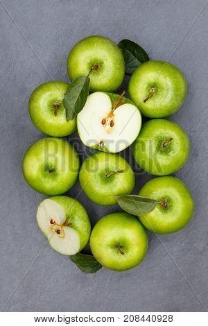 Apples Apple Fruit Fruits Slate Green Portrait Format Top View