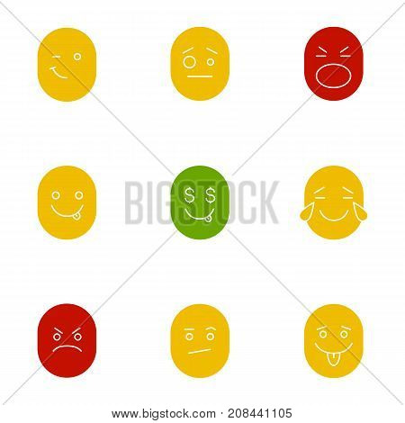 Smiles glyph color icon set. Silhouette symbols on white backgrounds. Good and bad mood. Winking confused shocked greedy laughing angry bored emoticons. Negative space. Vector illustrations