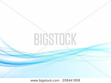 Blue elegant smoke border swoosh graphic gradient lines layout. Modern futuristic smooth luquid bright beautiful motion waves over white background template. Vector illustration