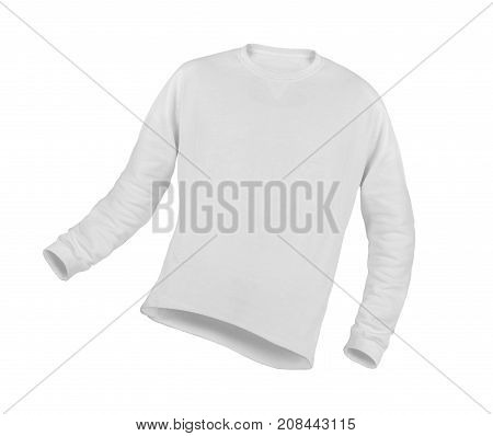 Volumetric image of a white T-shirt with a long sleeve on a white background