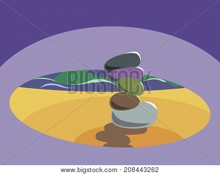 A stack of five zen stones. Patience, serenity, peace, balance, relaxation, mindful, meditation concept illustration vector.