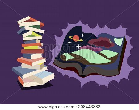 Reading books makes you better. In harmony with mind. Personal development, mindfulness concept illustration vector.