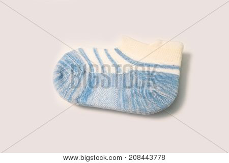 Single White Ankle Sock With Light Blue Stripe And Sole Pattern