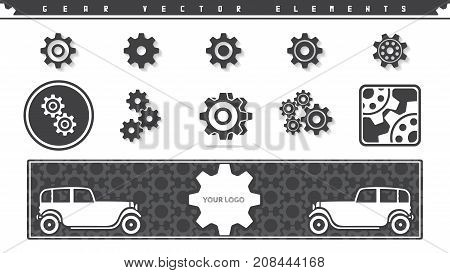 Vector set of gear icons and background with car