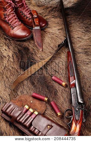 Hunting Double Barrel Vintage Shotgun, Hunters Knife,leather Bandolier And Leather Boots Mmunition,