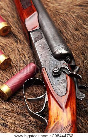 Hunting Retro Shotgun Closeup With Shotgun Shells.selective Focus.concept Hunting