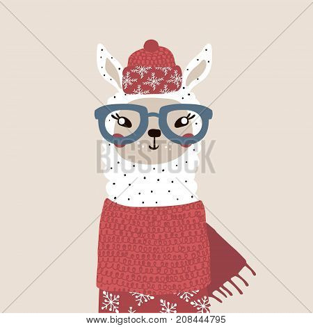 Cute winter lama in scarf and hat. Holiday and christmas illustration. It can be used for greeting card posters apparel