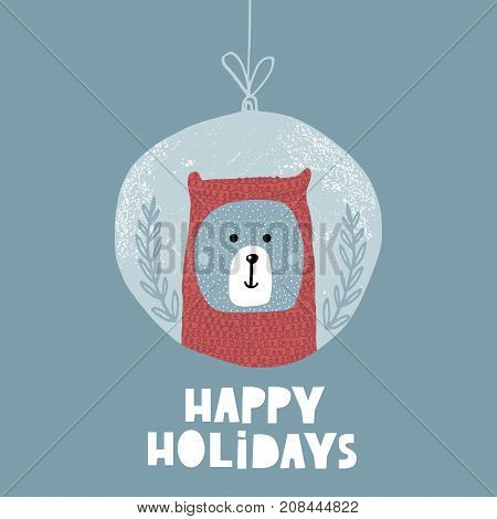 Cute winter greeting background with polar bear. Holiday and christmas illustration. It can be used for greeting card posters apparel