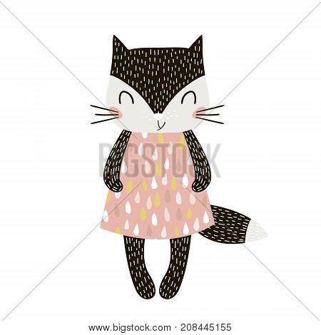 Cute cartoon cat girl in scandinavian style. Childish print for nursery kids apparelposter postcard. Vector Illustration