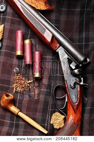 Hunting Double Barrel Vintage Shotgun, Cartridge Case On The On The Hunters Jacket In Cell,smoking P