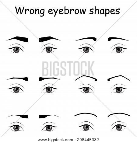 female eyes and eyebrows vector elements. How to paint the eyebrows. Trendy makeup brows scheme. Vector illustration