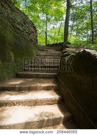 Stone Stairway in Hocking Hills at Old Mans Cave in Central Ohio