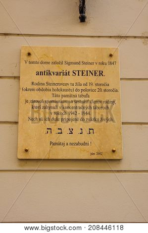 Memorial Plate For A Holocaust Victim, In Bratislava