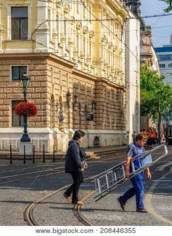 Scene Of The National Theater Square, In Bratislava