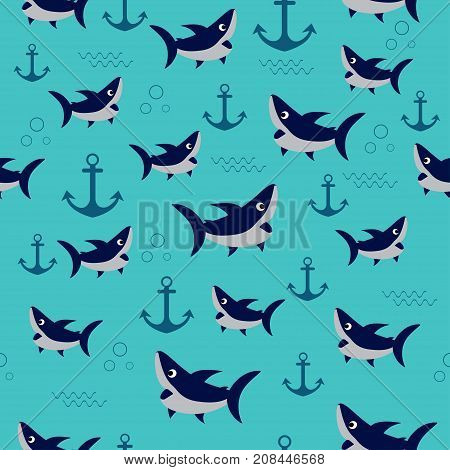 seamless pattern with cute sharks sharks swimming pattern with cartoon sharks and anchors