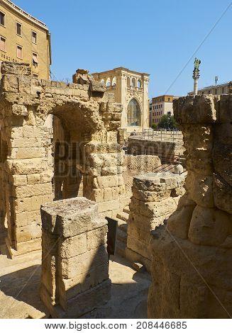 Roman Amphitheatre In Piazza Santo Oronzo Square. Lecce, Italy.