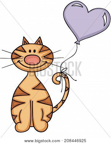 Scalable vectorial image representing a happy cat with heart balloon, isolated on white.