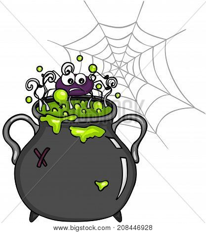 Scalable vectorial image representing a spider inside witch cauldron, isolated on white.