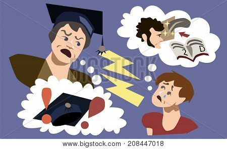 Scared student dreaming about college and degree. Education pressure, unwillingness, depression, mindfulness concept illustration vector.