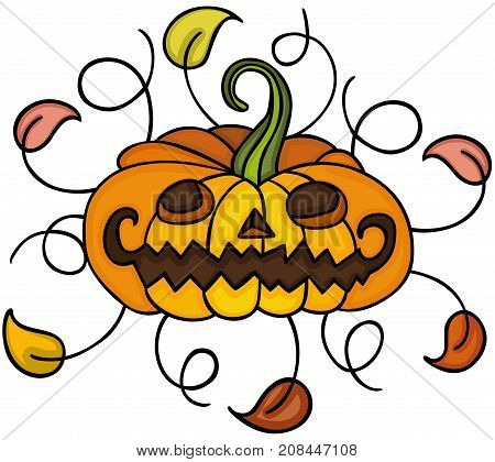 Scalable vectorial image representing a Halloween pumpkin with autumn leaves, isolated on white.