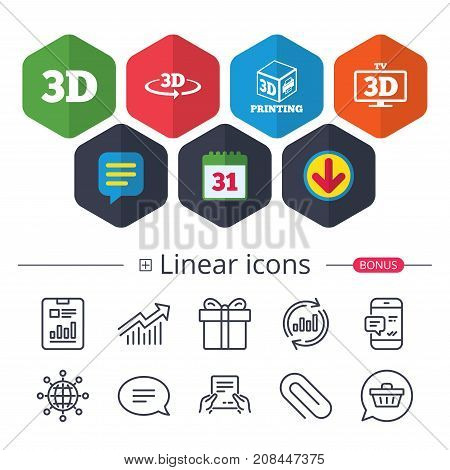 Calendar Speech bubble and Download signs. 3d technology icons. Printer rotation arrow sign symbols. Print cube. Chat Report graph line icons. More linear signs. Editable stroke. Vector