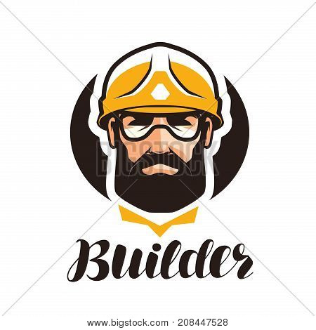 Builder, constructor logo. Industry, support, service repair overhaul icon or symbol