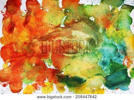 autumnal abstract scenic watercolor background multicolored spots on white sheet of paper
