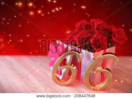 birthday concept with red roses in gift on wooden desk. 3D render - sixty-sixth birthday. 66th