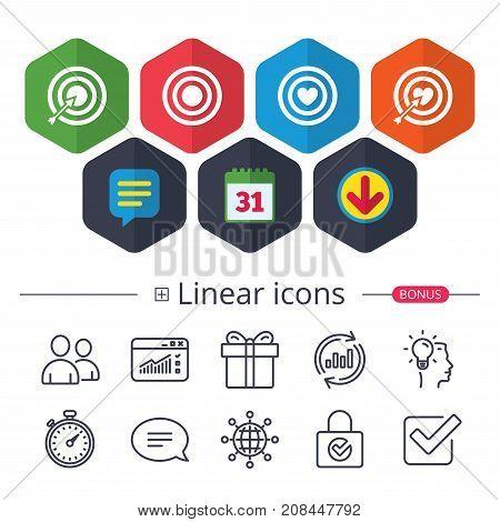 Target Aim Icons. Darts Board Signs Symbols.