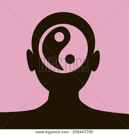 Silhouette of woman head balancing positive and negative energies. Spirituality, balance, mindfulness concept illustration vector.