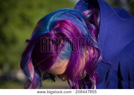 Girl with extreme hair color, mermaid, Malvina