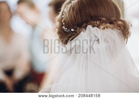Bride Hair With Veil Style Close Up. Beautiful Woman Getting Ready For Wedding In The Morning. Getti