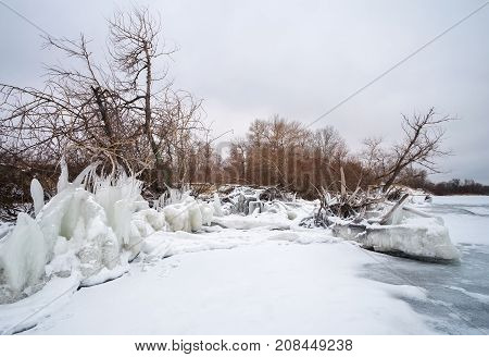 Icicles and icy frozen branches of tree at the coast. Beautiful winter scene.