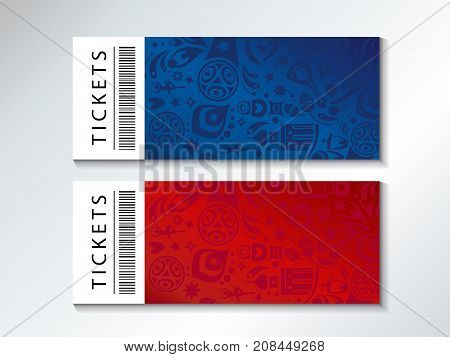 set of Football 2018 Russia World Cup Abstract football tournament tickets template concept, dynamic texture banner Vector world cup competition coupon template. Championship soccer. Russian folk art decor elements pattern.