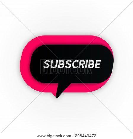 Vector Subscribe Banner Button Icon. Social Network Promo Sign.